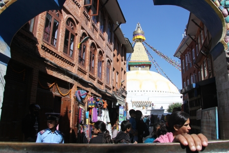 bodnath: View of Bodnath stupa in Kathmandu, Nepal Editorial