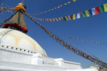bodnath: Stupa Bodnath and flags in Kathmandu, Nepal Stock Photo