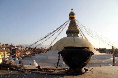 Dark bowl amnd wite stupa Bodnath in Kathmandu, Nepal photo