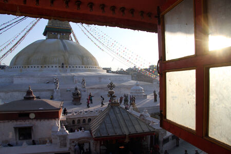 bodnath: Sunset in the window and stupa Bodnath in Kathmandu, Nepal
