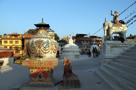 bodnath: Big vase on the basemenbt of stupa Bodnath in Kathmandu, Nepal