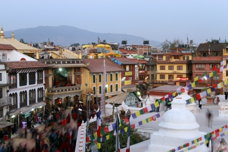 bodnath: People walk aroud stupa Bodnath in Kathmandu, Nepal Editorial