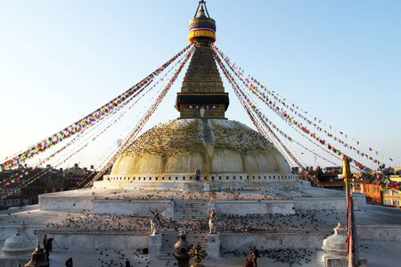 bodnath: Morning nd stupa Bodnath in Kathmandu, Nepal