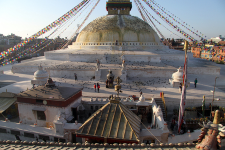 bodnath: Morning and stupa Bodnath in Kathmandu, Nepal Stock Photo