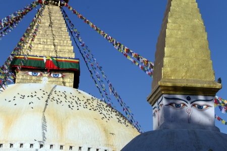 stupas: Due stupa Bodnath a Kathmandu, Nepal