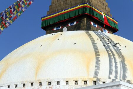 bodnath: Stupa Bodnath with flags in Kathmandu, Nepal