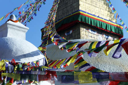 bodnath: Top of stupa Bodnath and flags in Kathmandu, Nepal