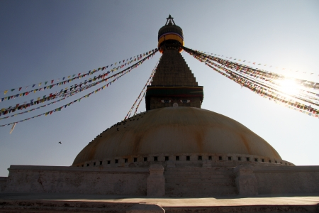 bodnath: Sunrise a nd stupa Bodnath in Kathmandu, Nepal