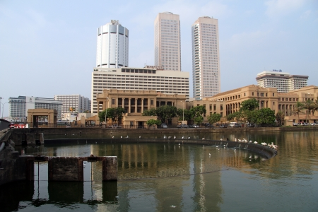 River with birds in Colombo, Sri Lanaka