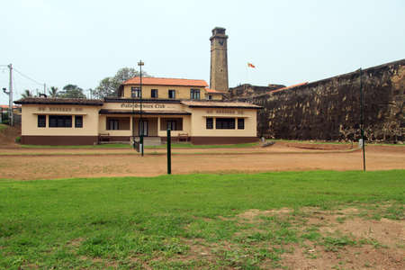 galle: Green field and wall of fortress in Galle, Sri Lanka
