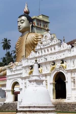 Head of Buddha and temple in Wewurukannala Vihara near Dikwella, Sri Lanka