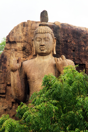 aukana buddha: Head of standing Aukana Buddha in Sri Lanka