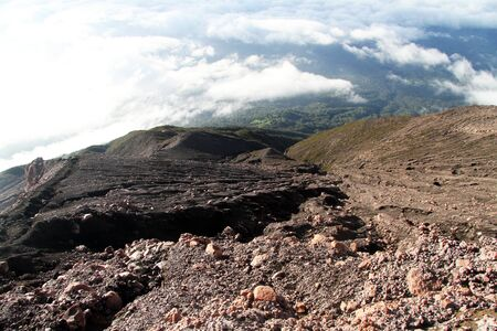 volcano slope: Stones and forest on the slope of volcano Kerinci in Indonesia
