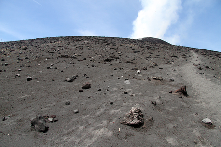 volcano slope: Footpath on the slope of volcano Krakatau in Indonesia Stock Photo