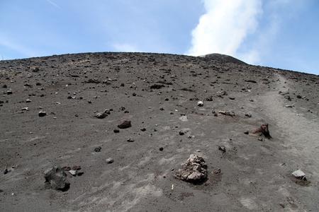 volcano slope: Footpath on the slope of volcano Krakatau in Indonesia Stock Photo
