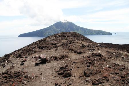 volcano slope: View from slope of volcano Krakatau in Indonesia
