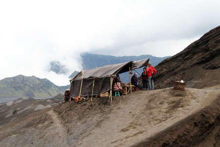 volcano slope: Tent with stall on the slope of volcano Bromo, Indonesia