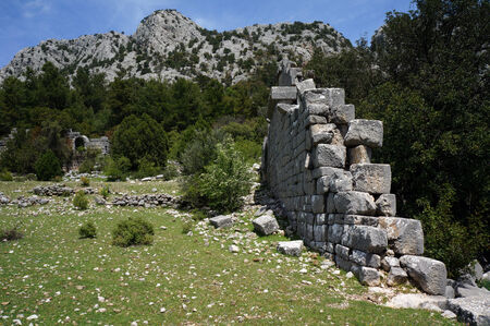 Ruins of ancient town Pednelissus in Turkey                                photo