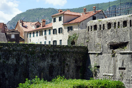 Wall and buildings of Old town Kotor, Montenegro