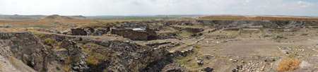 an excavation: Panorama of excavation in ancient Gordium, Turkey Stock Photo