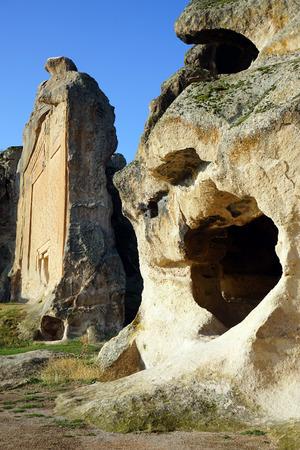 Cave i świątynią Mita w Midasa, Turcji Zdjęcie Seryjne