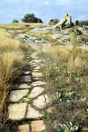 midas: Footpath to ancient rock altar in Midas, Turkey Stock Photo