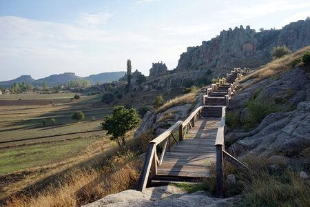 midas: Wooden steps in Midas, Turkey