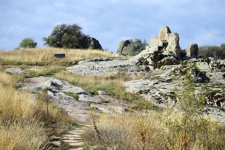 midas: Rock altar in Midas near Yazilikaya, Turkey Stock Photo