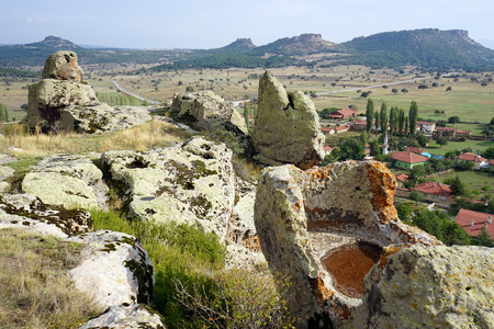 Phrygian ancient Midas on the top of rock, Turkey Stock Photo
