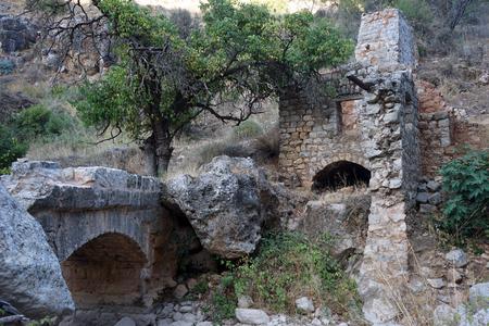 nahal: Ruins of bridge nd mill in Nahal Amud, Israel Stock Photo