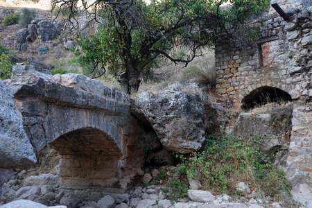 nahal: Ruins of bridge and mill in Nahal Amud, Israel
