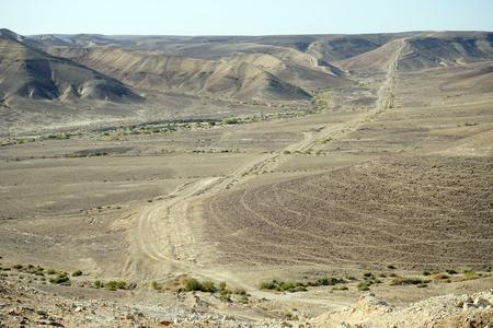 negev: Track in the valley in Negev desert, Israel Stock Photo