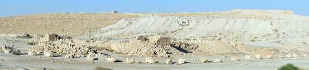 hebrews: Ruins of Meizad Tamar in Judea desert, Israel Stock Photo
