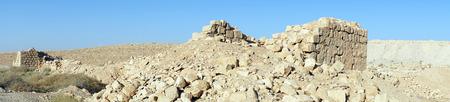 hebrews: Ruins of roman fortress in Meizad Tamar in Judea desert, Israel