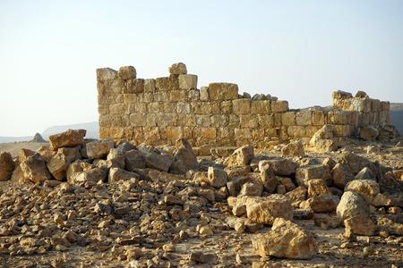 hebrews: Wall of ancient building in Negev desert, Israel