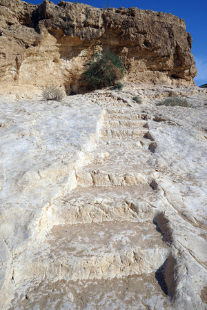ein: Roman rock stps to spring Ein Yorkeam, Israel Stock Photo