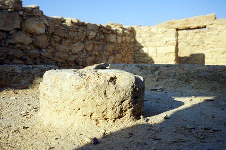 millstone: Millstone inside ruined building in Moa, Israel