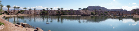 Pond in Timna oasis near Elifaz, Israel photo