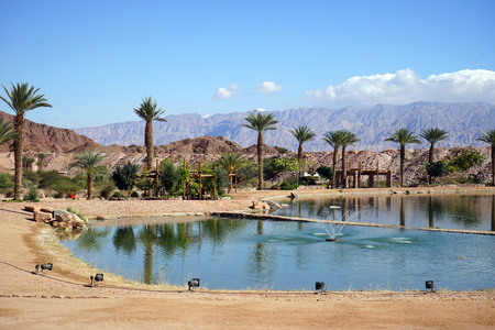 timna: Pond with fountain in Timna oasis in Negev desert, Israel