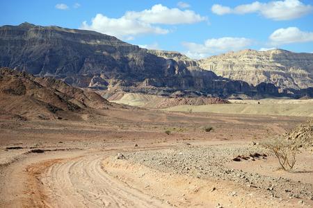 timna: Track in Timna park in Negev desert in Israel Stock Photo