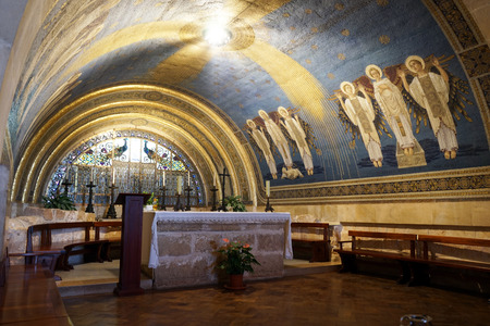 transfiguration: Inside Transfiguration church on the top of mount Tavor, Israel Editorial