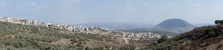 nazareth: Panorama of Tavor mount and Nazareth in Israel