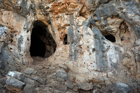 nahal: Cave in Nahal Mearot reserve in Israel Stock Photo