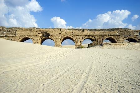caesarea: Track near ruins of aqueduct of Caesarea, Israel
