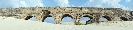 caesarea: Panorama of ancient aqueduct near Caesarea, Israel