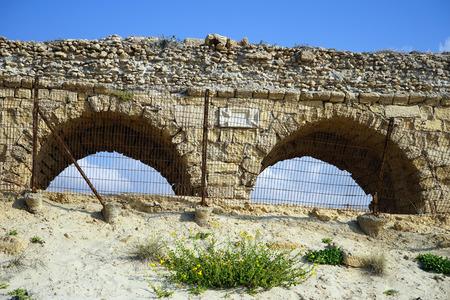 caesarea: Two arches of ancient aqueduct near Caesarea, Isrsel