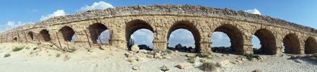 caesarea: Panorama of long aqueduct near Caesarea, Israel Stock Photo