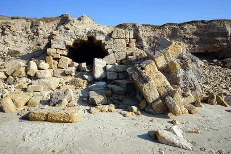 caesarea: Ruins on the beach near ancient Caesarea, Israel Stock Photo