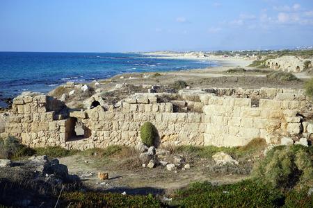 caesarea: Ruins of ancient sinagogue near Caesarea, Israel