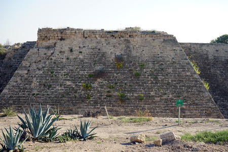 caesarea: Ruins of city fortification in ancient Caesarea, Israel
